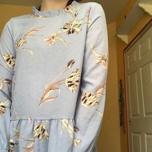 NWT Orange Creek Blue Floral Mock Neck Long Sleeve